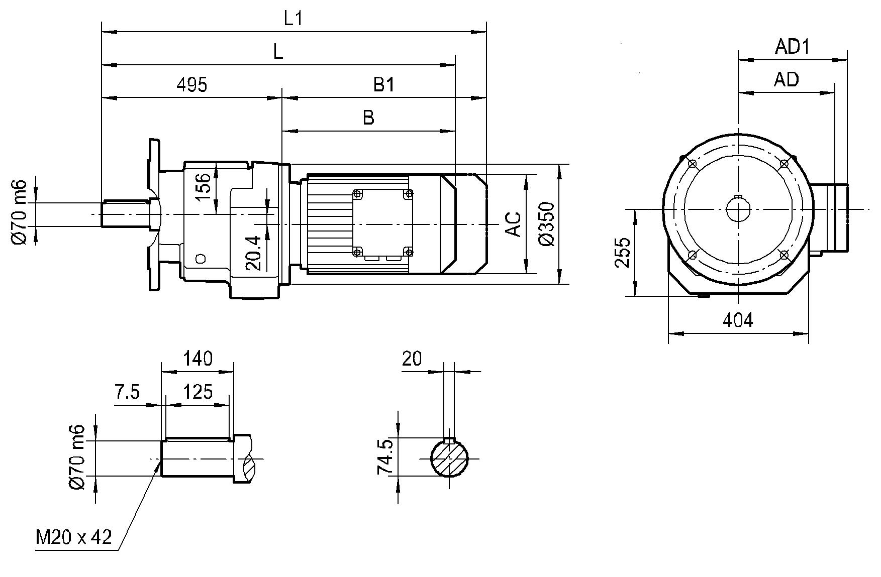 Соосный фланцевый редуктор HR 107