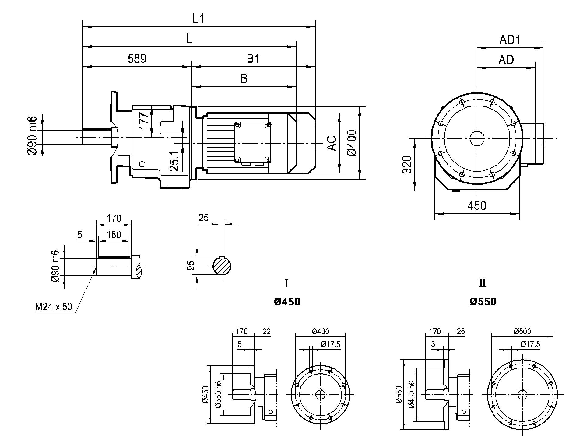 Соосный фланцевый редуктор HR 137