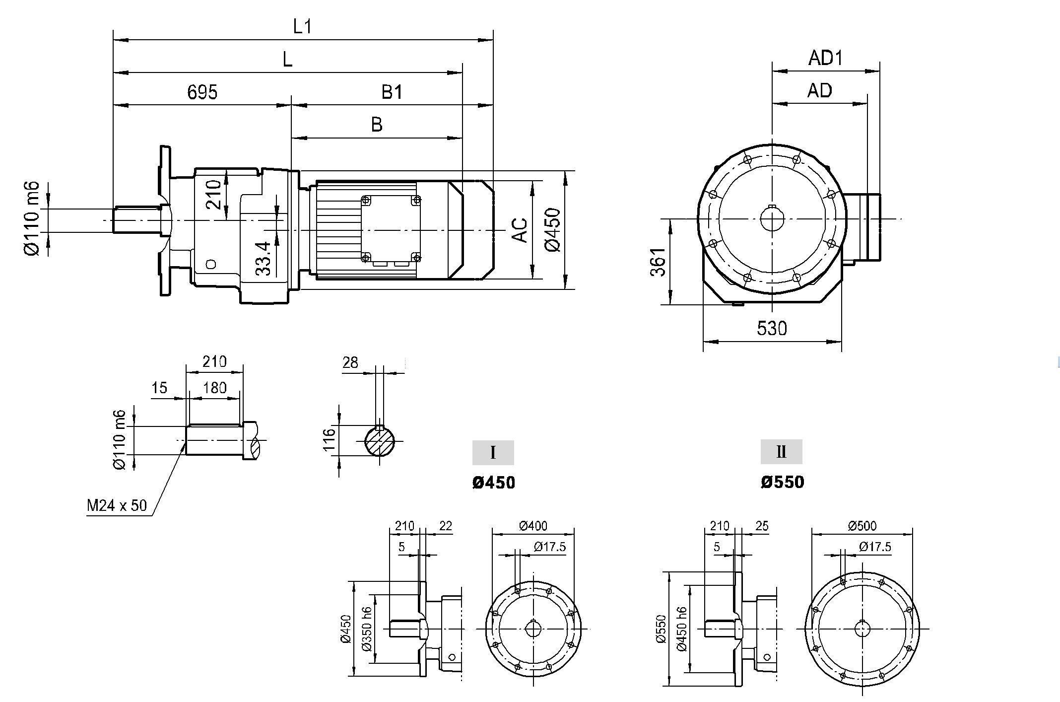 Соосный фланцевый редуктор HR 147