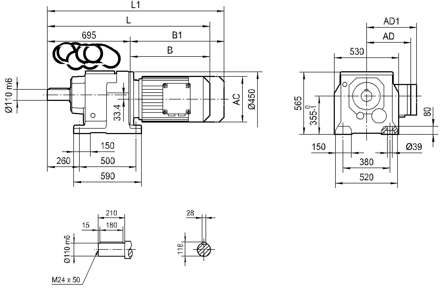 Соосный редуктор HR 147